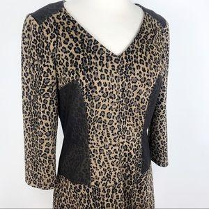 Antonio Melani Leopard Print Midi Dress Mesh Panel